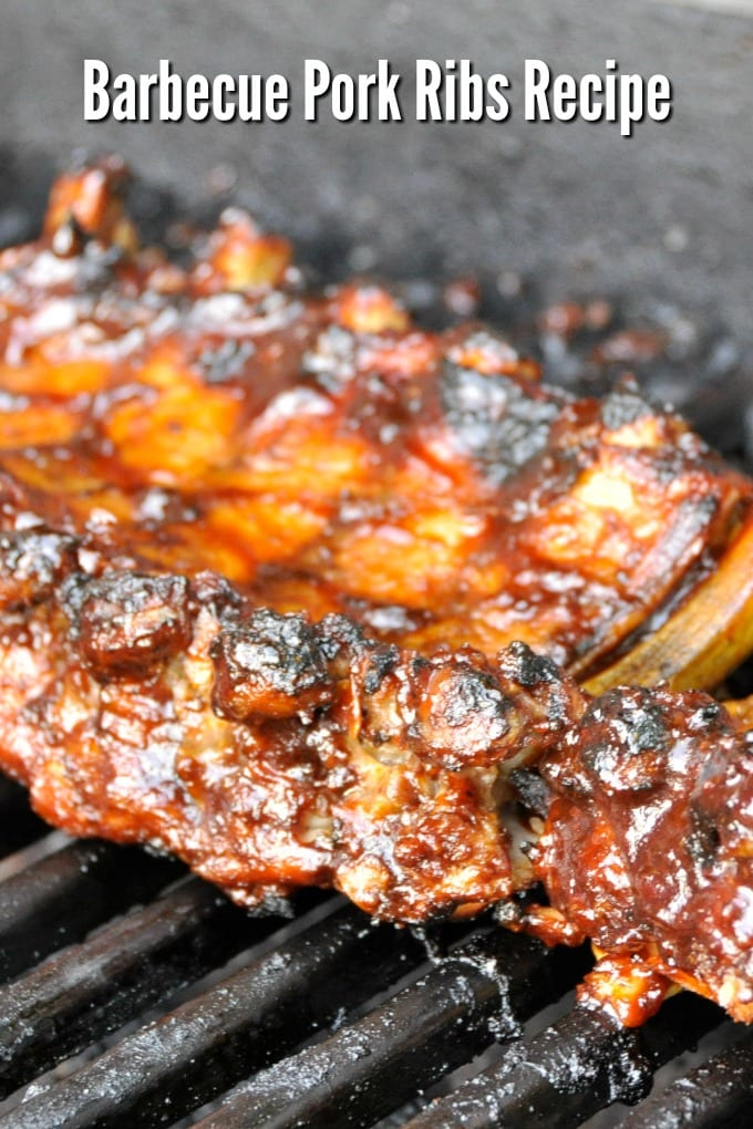 a rack of Barbecue Pork Ribs on a grill