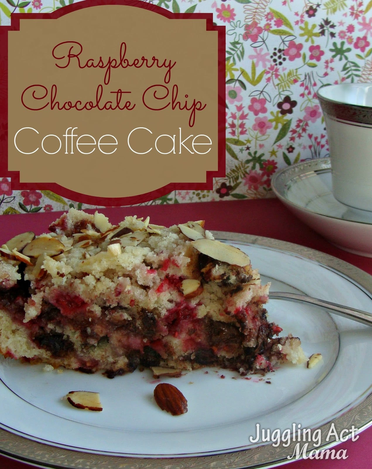 Raspberry Coffee Cake With Chocolate Chips and Almonds