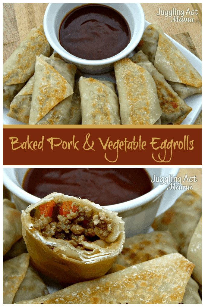 With ground pork, tender veggies and just the right combination of garlic and fresh ginger, these Baked Eggrolls are better than any take out you can order! via @jugglingactmama