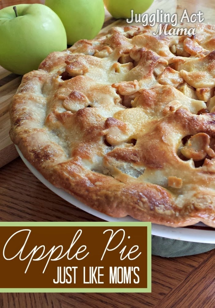 Close up image of apple pie on a white plate.