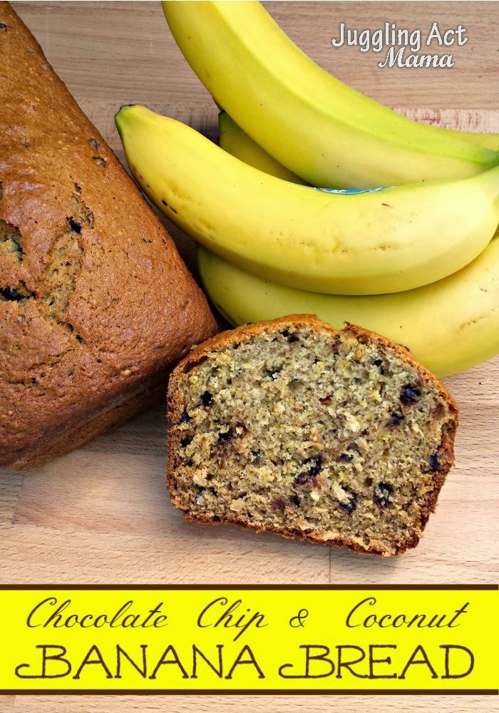 Banana Bread with Chocolate Chips and Coconut