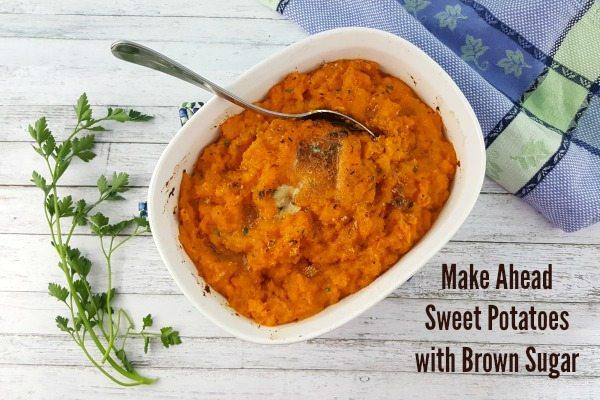 Top down image of make ahead sweet potatoes with brown sugar.