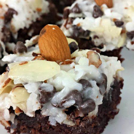 Close up image of an almond joy brownie bite.