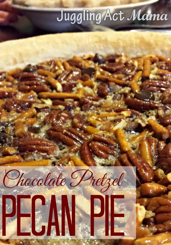 Delicious and unique Chocolate Pecan Pie with pretzels, maple syrup and of course pecans!