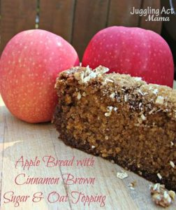 Apple Bread with Cinnamon Brown Sugar & Oat Topping