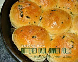 PW Inspired Buttered Basil Dinner Rolls