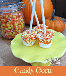 Pumpkin Dipped Marshmallow Pops via Juggling Act Mama