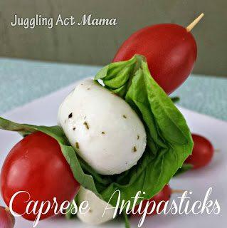Close up image of Antipasto Kabobs aka caprese antipasticks.