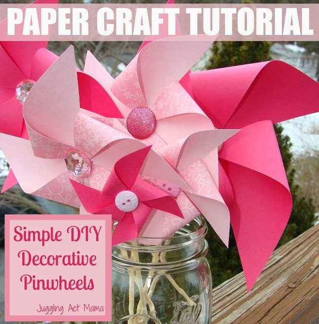Pinwheels made with patterned pink paper in a glass mason jar. Simple DIY decorative pinwheels.