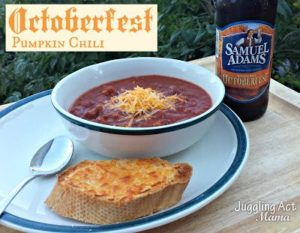 Octoberfest Pumpkin Chili with Chili Garlic Bread