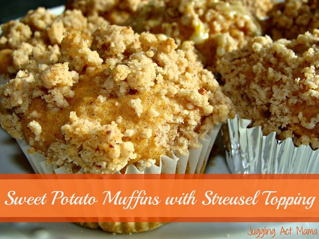 Sweet Potato Muffins with Strusel Topping from Juggling Act Mama