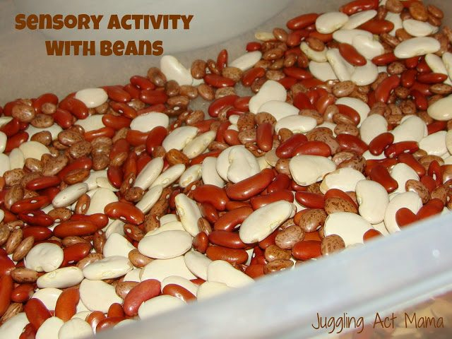 Sensory Bean Activtiy via Juggling Act Mama