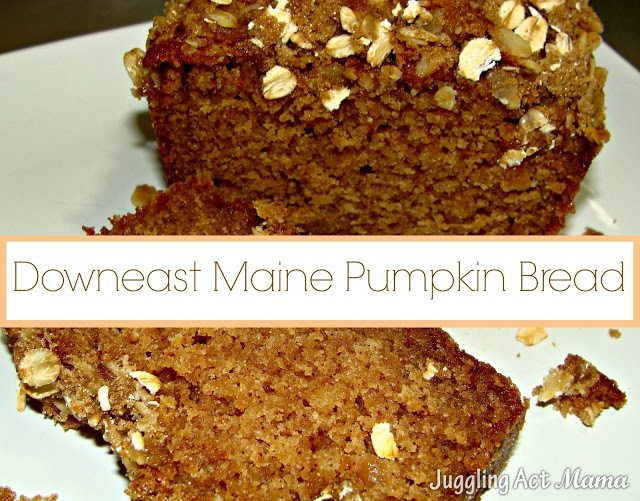 Close up image of downeast Maine pumpkin bread.