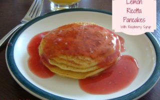 Lemon Ricotta Pancakes with Raspberry Sauce