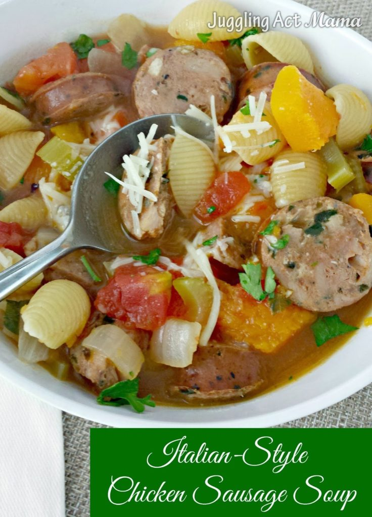 Italian-Style Chicken Sausage Soup via Juggling Act Mama