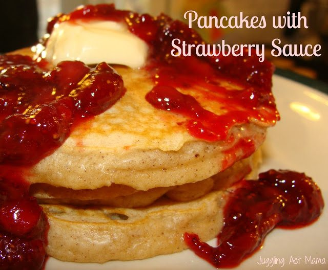 Pancakes with Homemade Strawberry Sauce