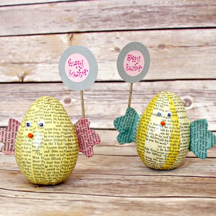 close up of two Book Page Easter Egg Chicks