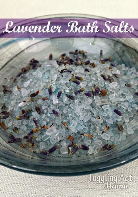 Lavender Bath Salts Bowl via Juggling Act Mama as seen on Mom's Test Kitchen