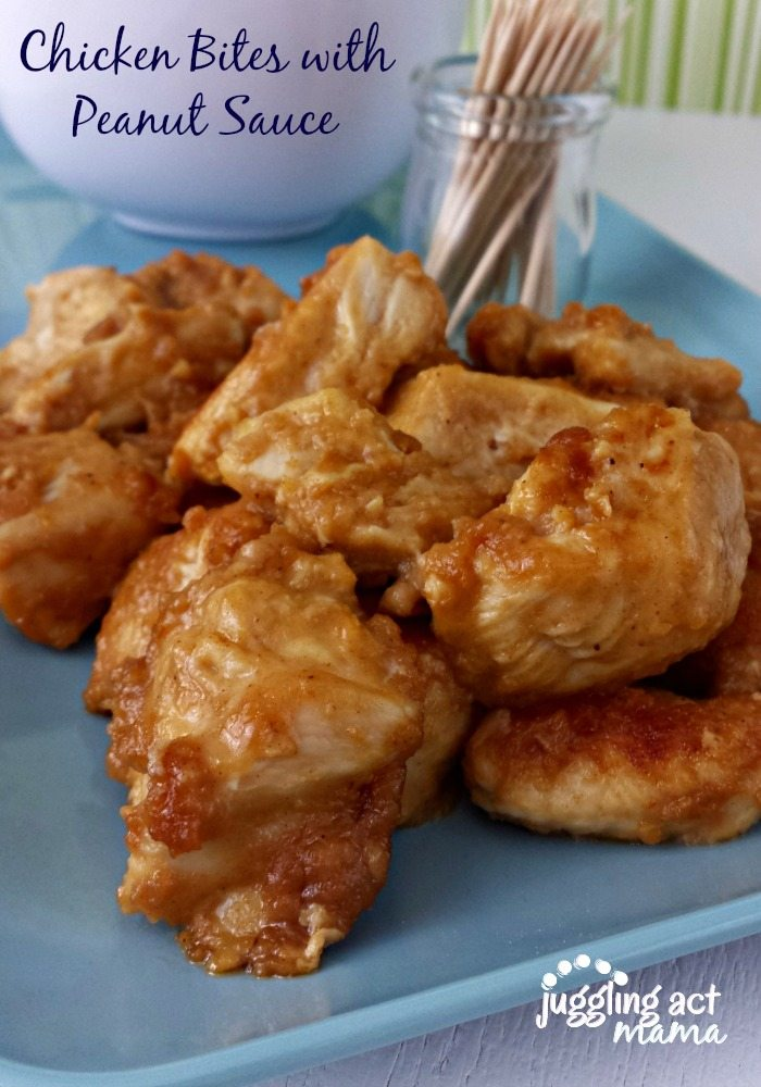 Chicken Bites with Peanut Sauce via Juggling Act Mama