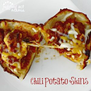 Perfect Game Day Chili Potato Skins via Juggling Act Mama