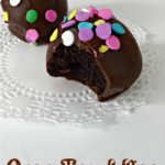 Oreo Truffles enrobed in decadent dark chocolate via Juggling Act Mama as seen on Miss Information