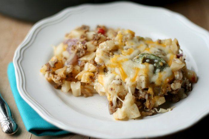 Cheesy Hashbrown Potatoes via All She Cooks