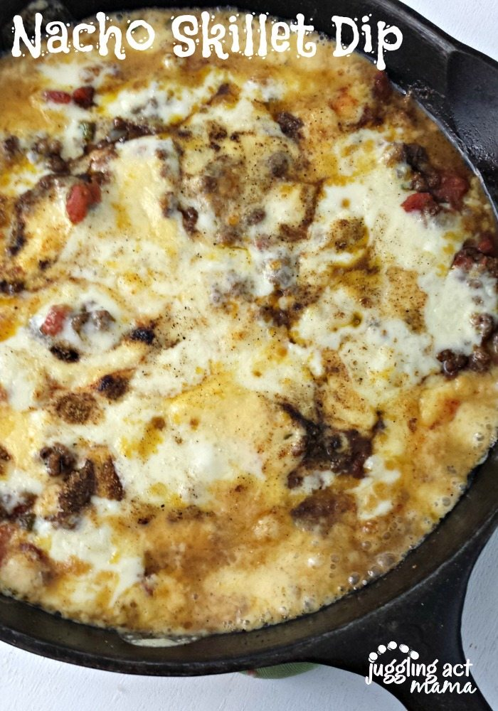 close up of a skillet with Ground Beef Cheese Dip