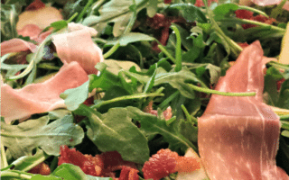Pear, Arugula, and Pancetta Salad with Champagne Vinaigrette
