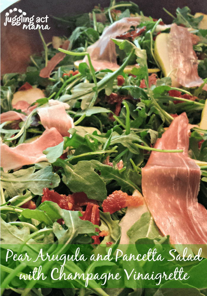 Pear Arugula and Pancetta Salad with Champagne Vinaigrette