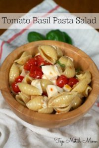 Tomato Basil Pasta Salad via Top Notch Mom as seen on Juggling Act Mama
