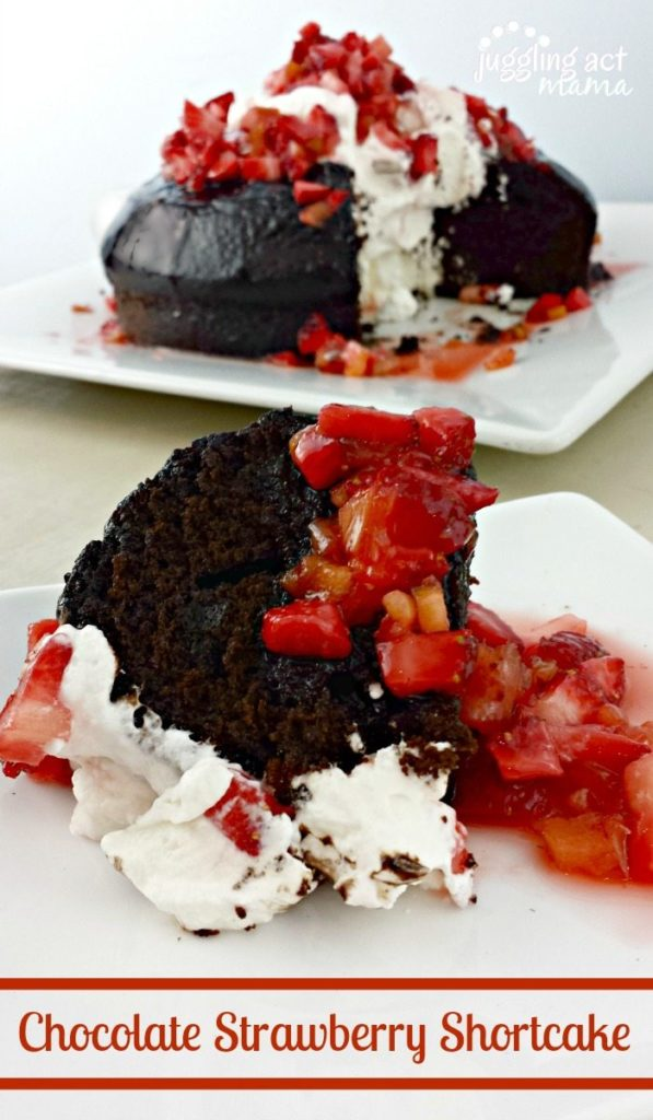 Another amazing recipe from Juggling Act Mama - Rich delicious chocolate bundt cake with strawberry glaze, topped with homemade whipped cream and fresh berries.
