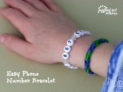 Easy Phone Number Bracelet from Juggling Act Mama #kidcraft @jugglingactmama
