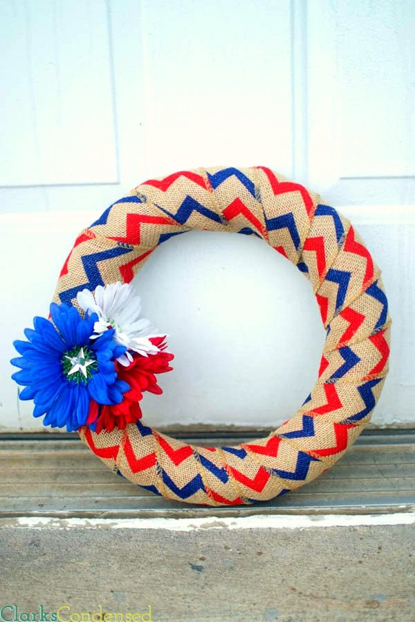 Fourth of July Burlap Wreath from Clarks Condensed