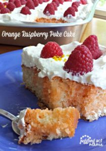 Orange Raspberry Poke Cake at Say Not Sweet Anne