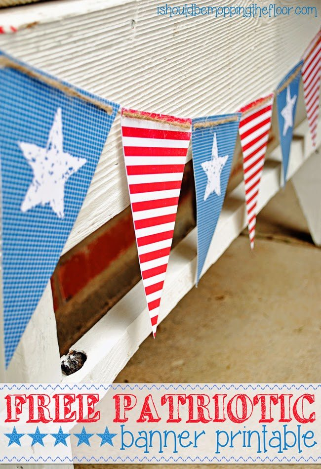 Patriotic Banner Printable from I Should be Mopping the Floor