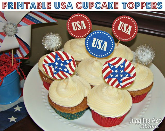 Patriotic Cupcake Topper {Free Printable} from Juggling Act Mama