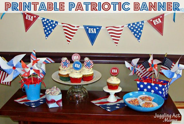 Patriotic Banner {Free Printable} from Juggling Act Mama