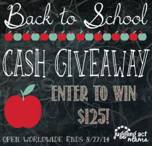 Back to School Cash Giveaway, Open world wide, ends 8/27/14