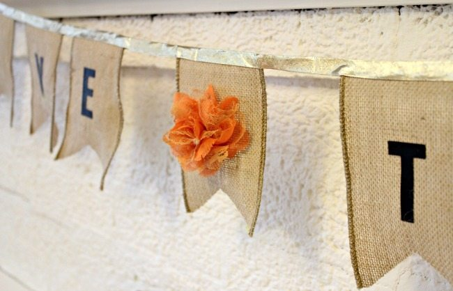 Simple Burlap GIVE THANKS banner from View From The Fridge