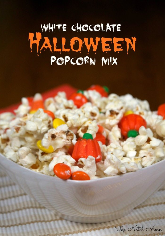 Whit Chocolate Popcorn Mix for Halloween