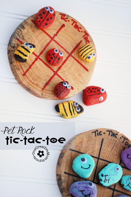 Pet Rock Tic-Tac-Toe {OneCreativeMommy.com}