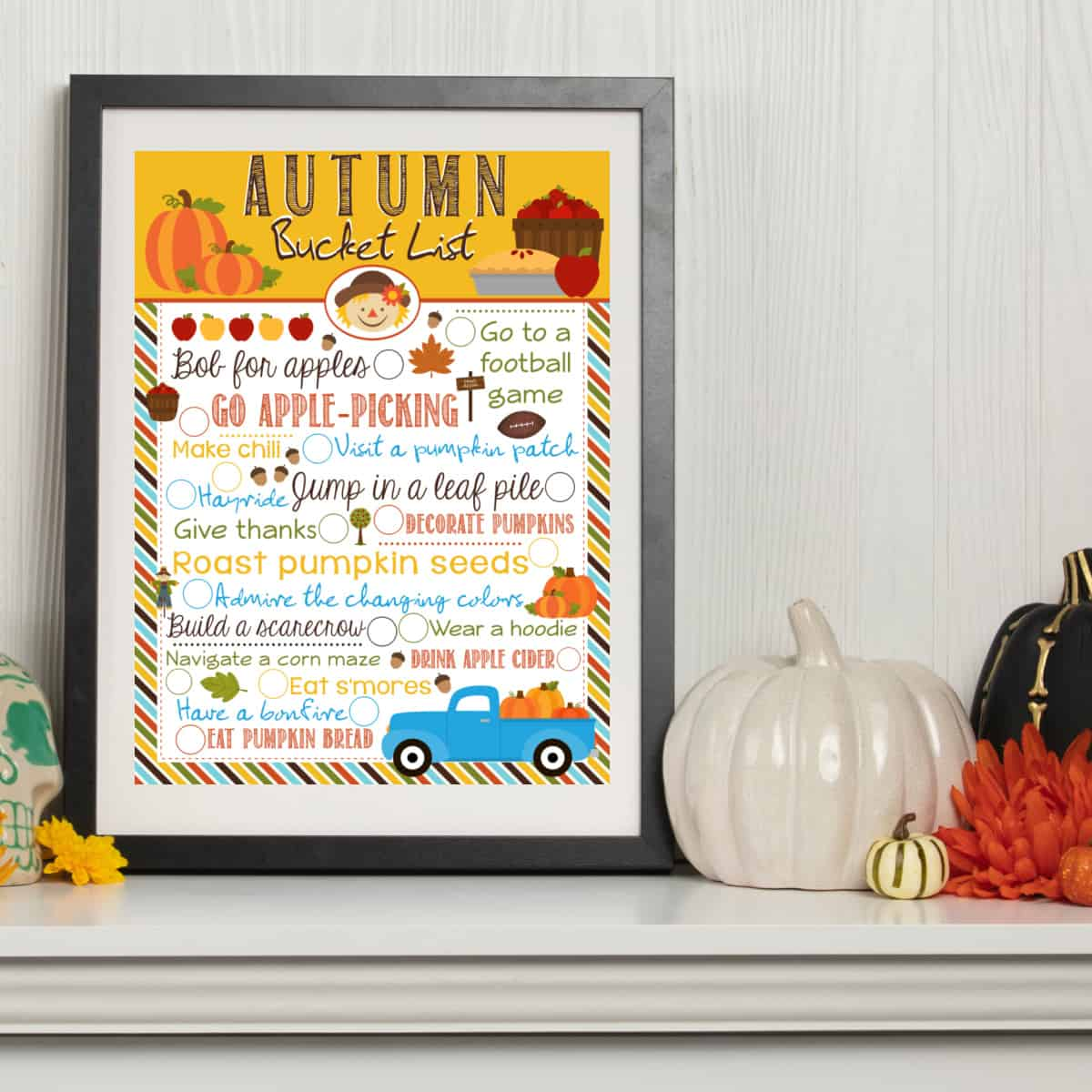 Autumn bucket list printable in a frame.