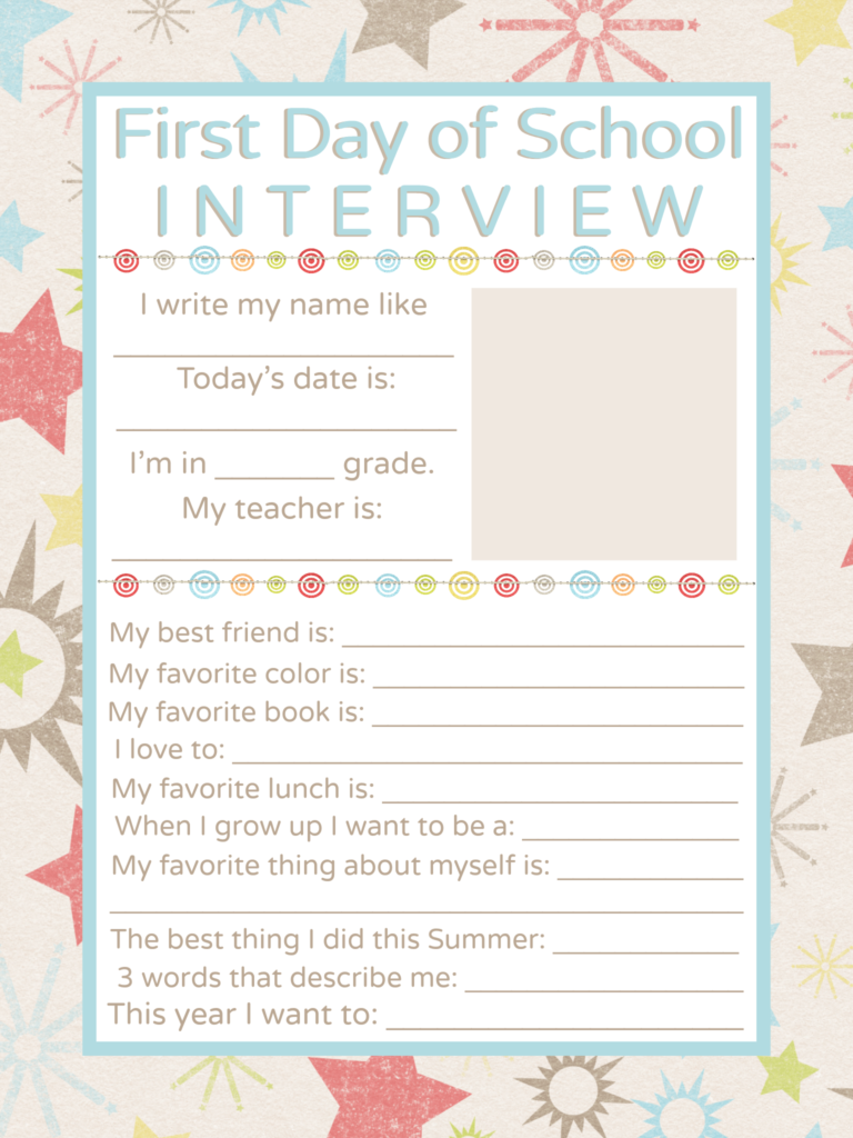 First Day of School Interview Printable - Juggling Act Mama