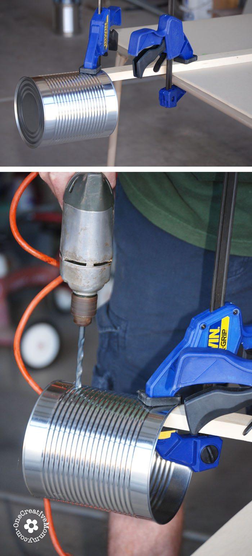 Drill Setup for Tin Can Stilts