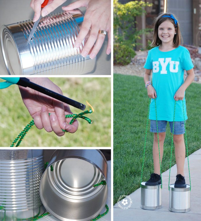 Recycle tin cans into a classic toy -- Tin Can Stilts! via @jugglingactmama