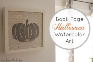Book Page Halloween Watercolor Art