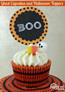 Ghost Cupcakes and Halloween Toppers