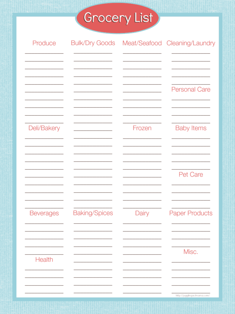 Grocery List Printable from Juggling Act Mama