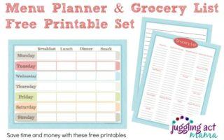 Menu Planner & Grocery List Printable Set