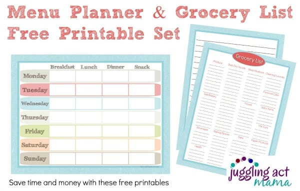 Menu Planner & Grocery List Printable Set